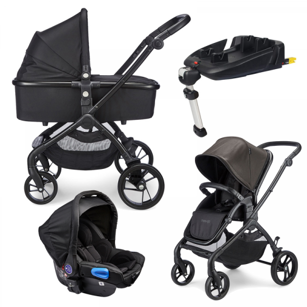 Mee-go Plumo Travel System Package With ISOFIX Base - Phantom Black