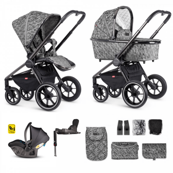 Venicci Tinum Bundle 3 in 1 Travel System with iSize Car Seat and Isofix Base - Camo Grey