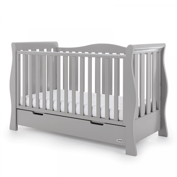 Obaby Stamford Luxe Sleigh Cot Bed - Warm Grey