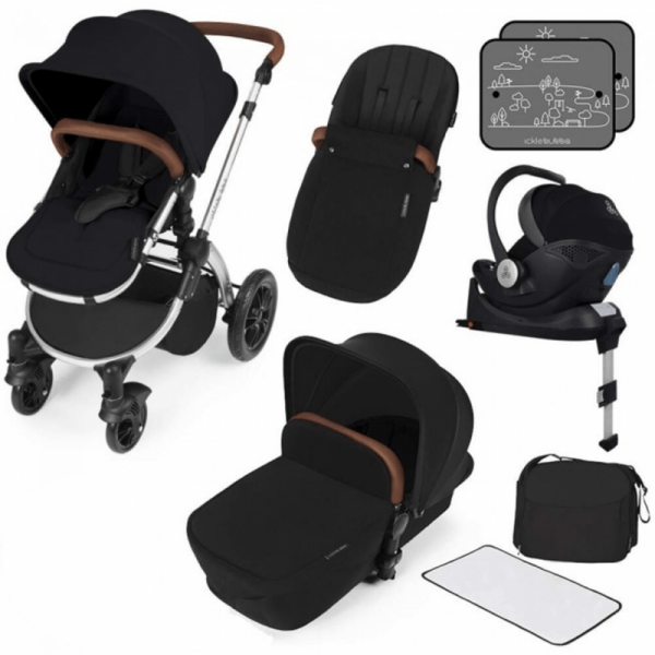 Ickle Bubba Stomp V3 i-Size Travel System with ISOFIX Base - Black on Silver Frame