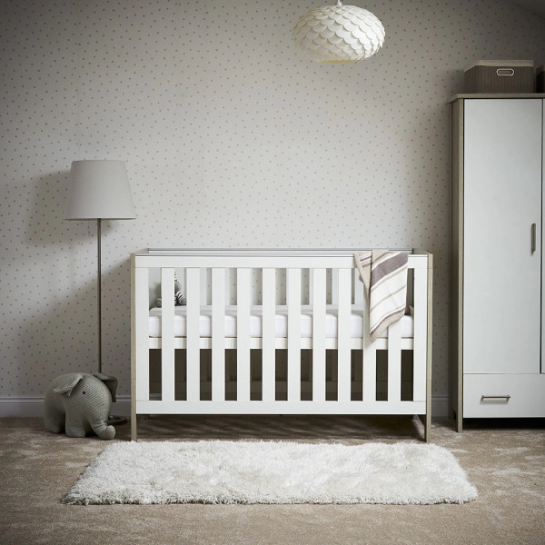Obaby Nika Cot Bed- Grey Wash and White