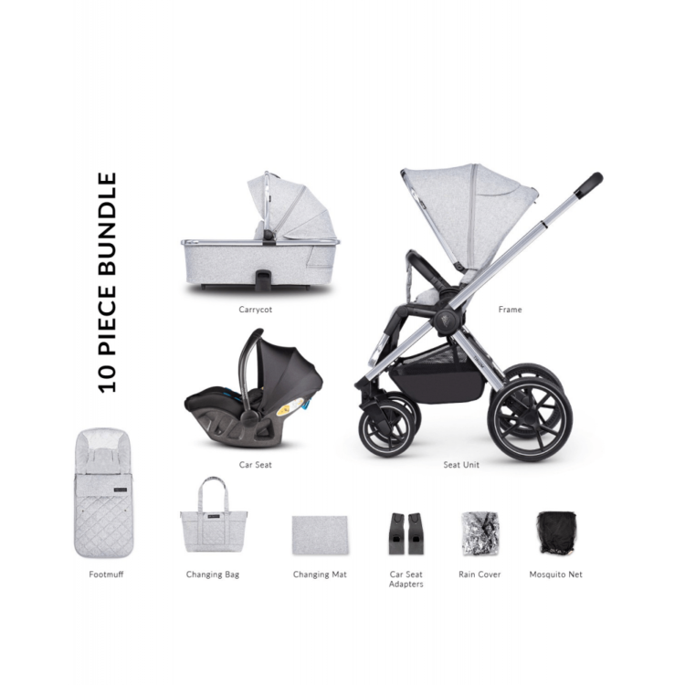 Venicci Tinum 2.0 3 in 1 Travel System with Ultralite Car Seat in Black- City Grey