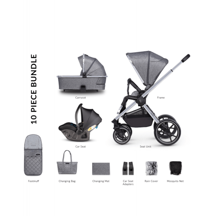 Venicci Tinum 2.0 3 in 1 Travel System with Ultralite i-Size Car Seat in Grey - Rock Graphite