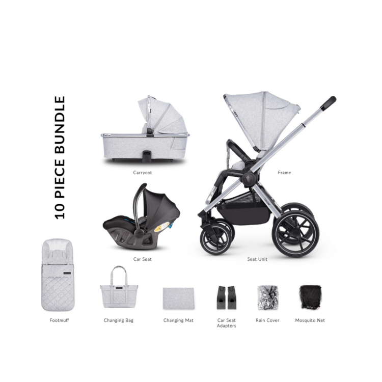 Venicci Tinum 2.0 3 in 1 Travel System with Ultralite i-size Car Seat in Grey (10 Piece Bundle)- City Grey